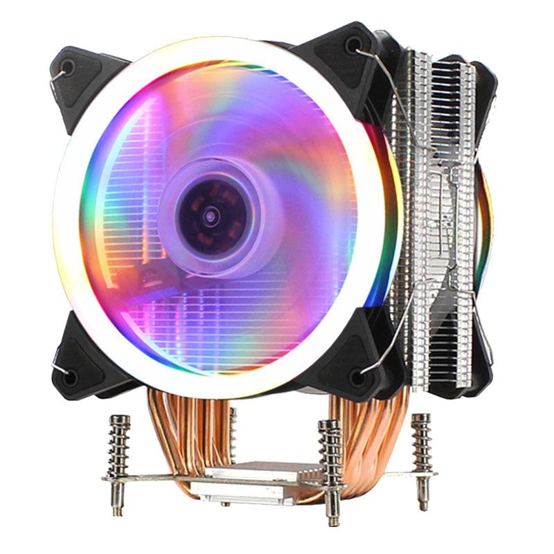 LANSHUO 6 Copper CPU Radiator Ultra-Quiet Cooling Fan Single Motherboard 2011 Server for X79 X99 X299 CPU Fan (4 Line ,Dual Fan