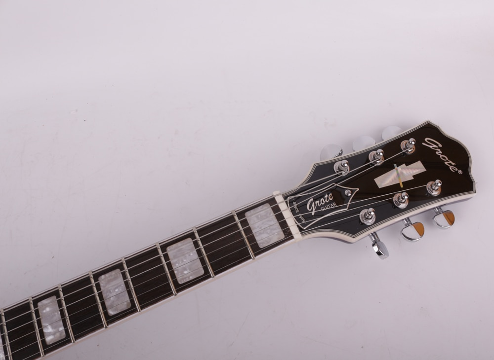 Good quality jazz hollow body f hole double cutaway blue electric guitar free shipping enlarge