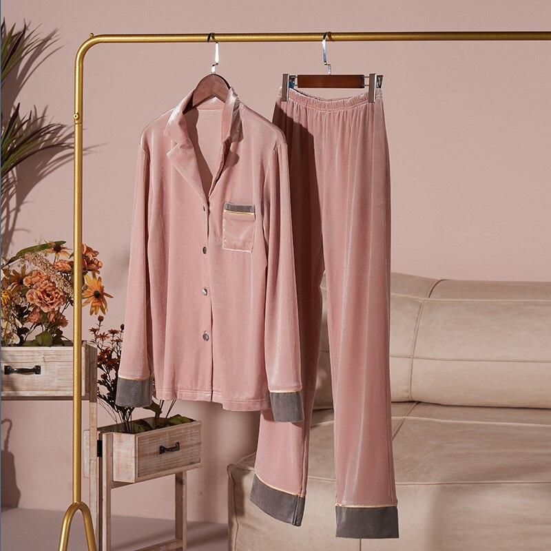 Пара пижамы золото бархат мужские из двух частей костюм одежда для сна осень% 2FЗима дом обслуживание женщины с длинными рукавами брюки ночное белье комплект MA70052