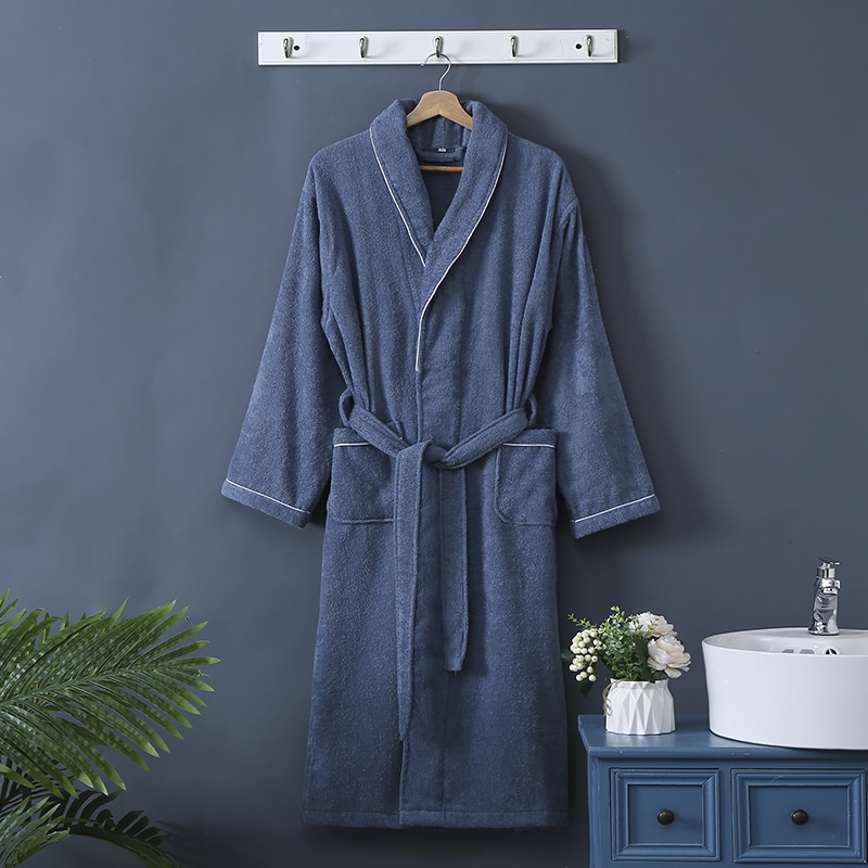 Toweling Robe Men 100% Cotton Homewear 100% Cotton Unisex Robe Kimono Lovers Sleeprobe Terry Sleeprobe male Bridesmaid robes