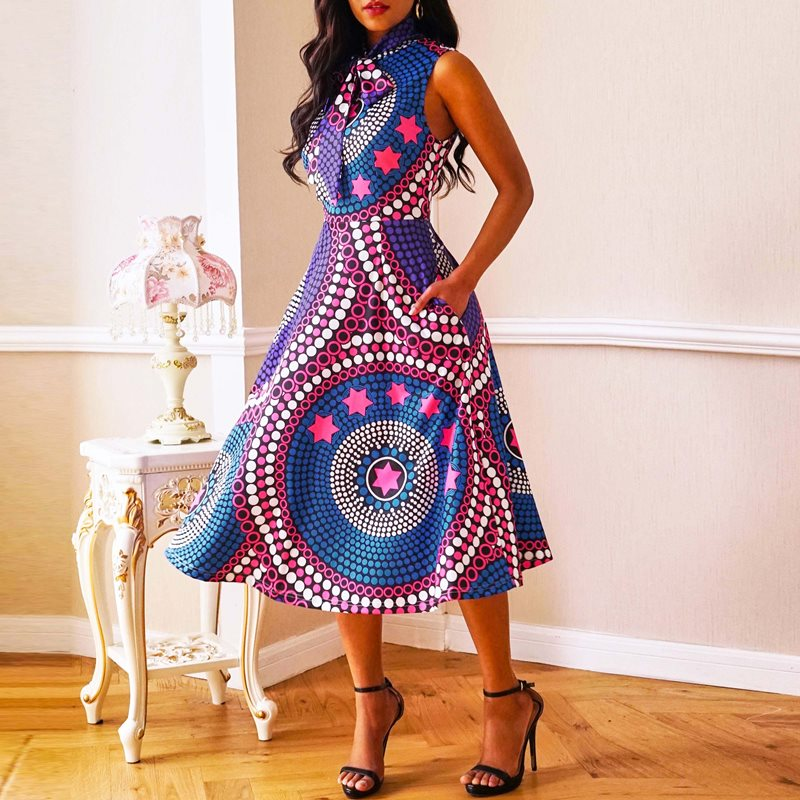 2019 Hot Sale Women Bow design Party Elegant Dress Color Block Printing Sleeveless High Waist A-line Simple Casual Dress