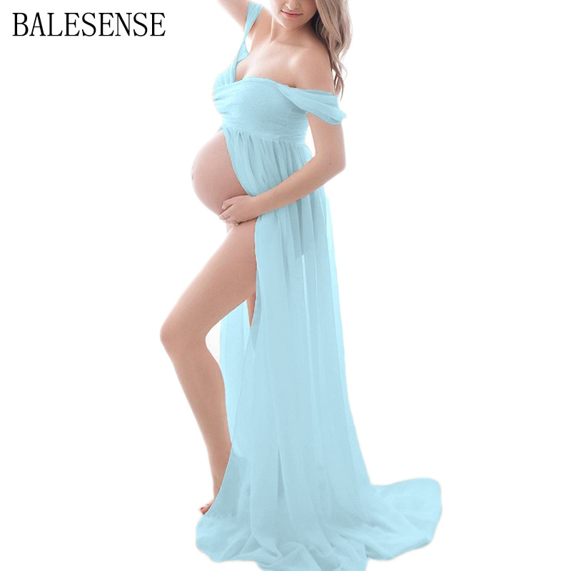 Lace Chiffon Gown Split Front Maxi Pregnancy Dresses Photography Sexy Off Shoulder Maternity Dress for for Photo Shoot Pregnant