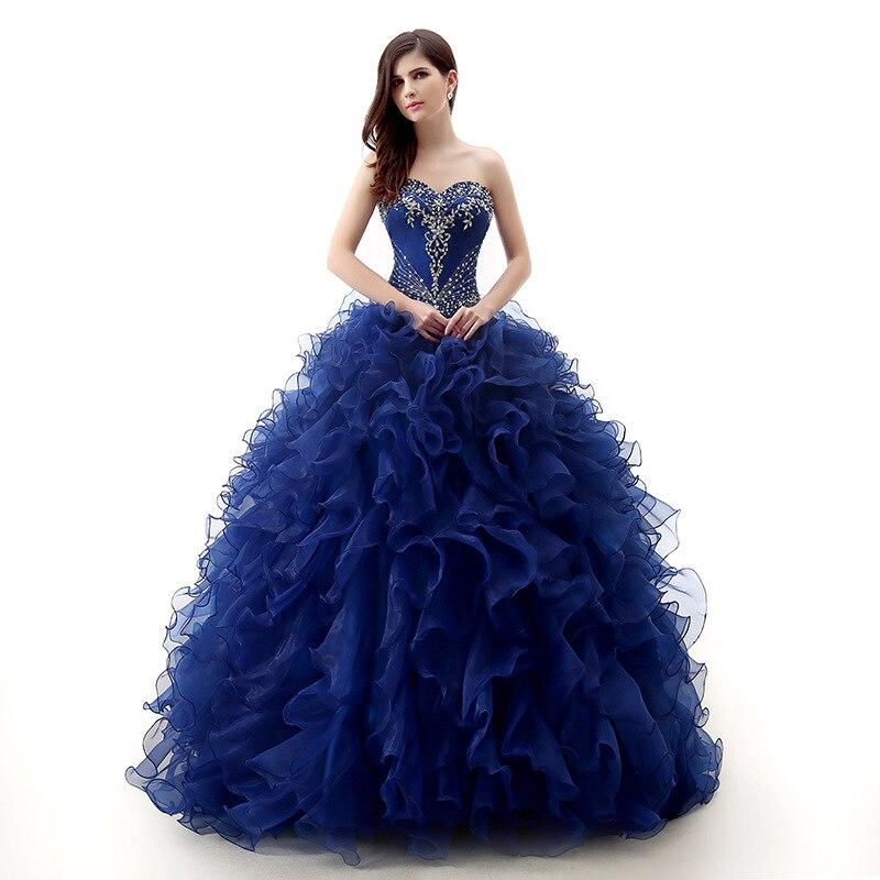 Azul volantes vestido de fiesta con cuentas vestidos de quinceañera dulce 16 vestidos de Gala de talla grande vestidos de fiesta de quinceañera hinchados por encargo
