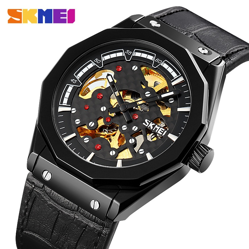 SKMEI Brand Reloj Hombre Creative Automatic Watches Mens Mechanical Wristwatches Hollow Dial Waterproof Men Leather Strap Watch