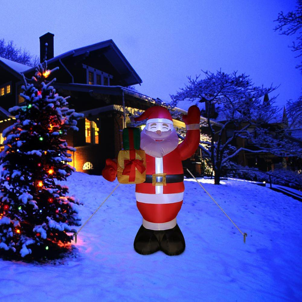 Christmas Outdoor Decoration Led Light Lamp Inflatable Santa Claus Gift Luminous Inflatable Christmas Decoration Garden Decor