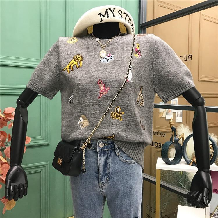 2020 Autumn New Korean Style Animal Embroidery Short Sleeve Knitted Sweater Harajuku Kpop Luxury Designer Woman Clothing