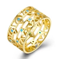 zemior 925 sterling silver rings for women hollow turquoise vintage gold ring fine jewelry hot sale wedding engagement gift