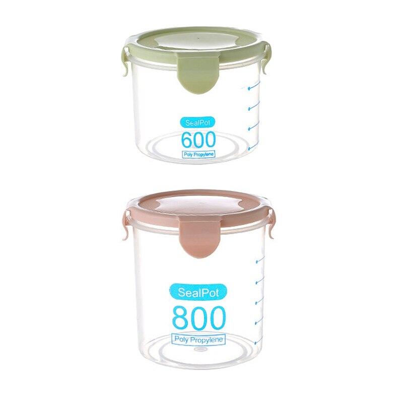 2 pièces cuisine alimentaire conteneur joint Pot thé café bonbons stockage réservoir en plastique céréales collations boîte, rose et vert