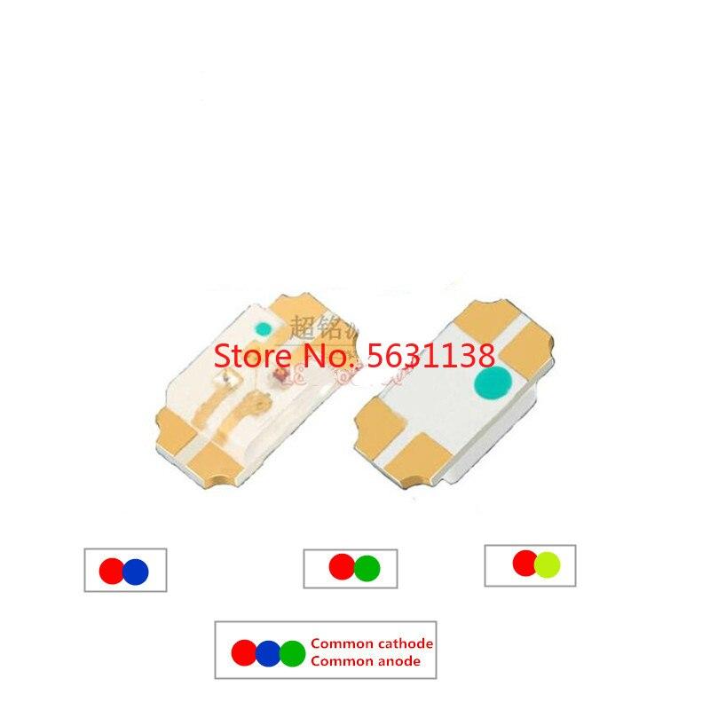 50 Uds 3216 SMD LED 1206 bicolor-rojo + azul/R + verde/R + YELLOWGREEN RGB-cátodo común/ánodo común color 20mA cree led COB chip