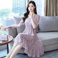 vintage dresses for women 2021 summer printing short sleeve elastic waist plus size woman dress v neck women dress