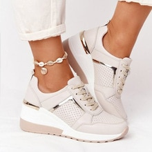 New Women Sneakers Lace-Up Wedge Sports Shoes Women's Vulcanized Shoes Casual Platform Ladies Sneake