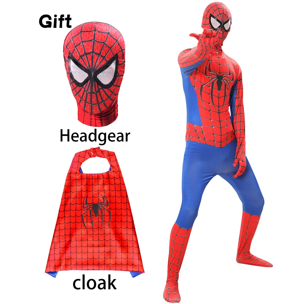 child adult cosplay amazing spiderboy tights halloween costume zipper suit super heroes bodysuit for kids party Halloween Amazing Spiderboy Mask Cloak Costume Suit Cosplay Birthday Party Performance Jumpsuits Boy Cosplay Cloth Gift
