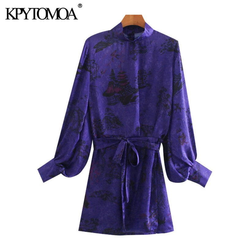 Kpytomoa 2020 moda chique com cinto impresso mini vestido vintage gola alta lanterna manga lateral fenda vestidos femininos mujer