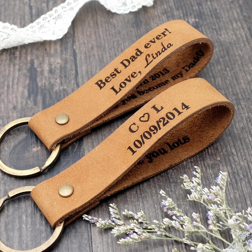 Personalized Leather Keychain, Custom Keyring, Couple Gifts, Key Chain, Mens Gift, Dad Gift