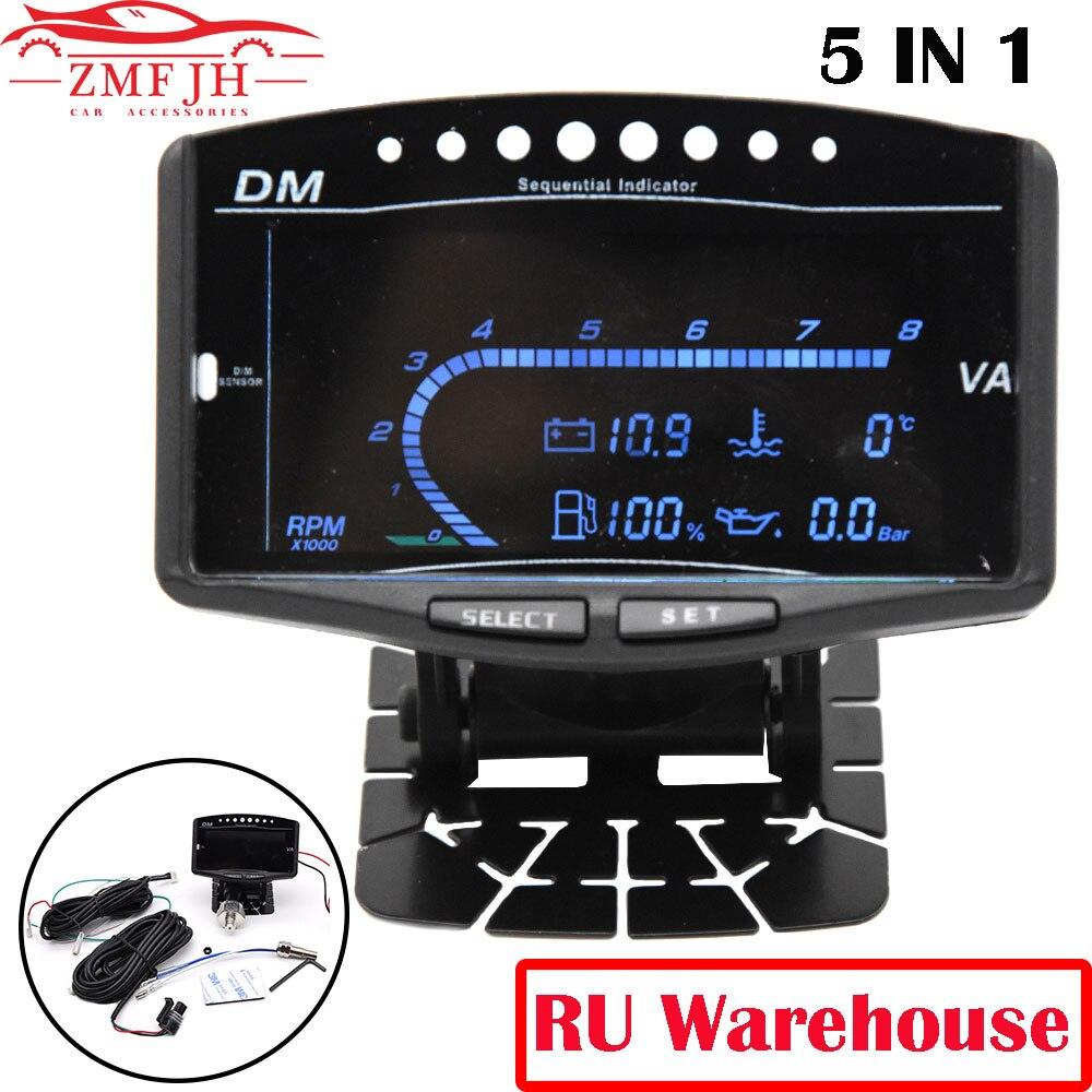 Universal Lkw Auto Lcd 5 In 1 Digital Manometer Tachometer öldruck Sensor Volt Voltmeter Wasser Temperatur Kraftstoff Gauge 12v 24v Tachometers Aliexpress