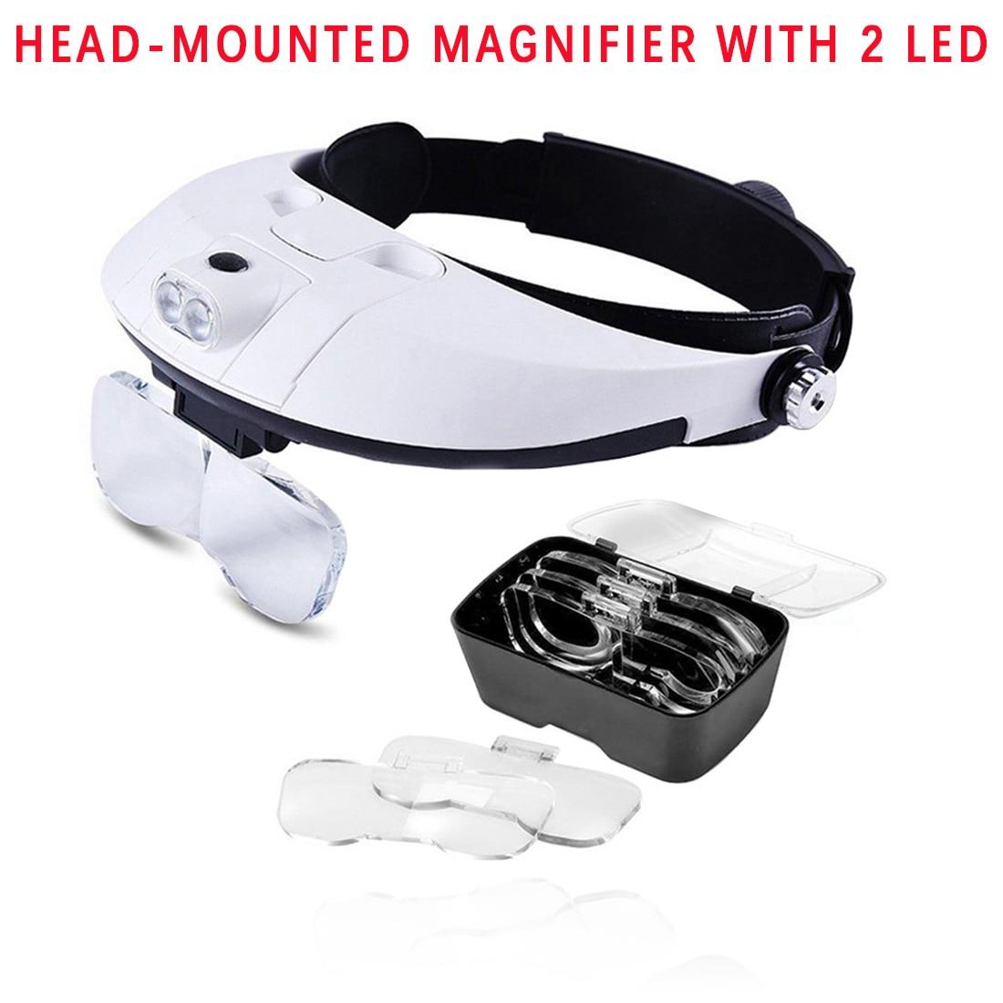 2 lupas LED para lupa, montura en la cabeza, lupa de bolsillo, microscopio, 5 lentes, 1,0x, 1,5x, 2,5x, 3,5x para herramientas de reparación