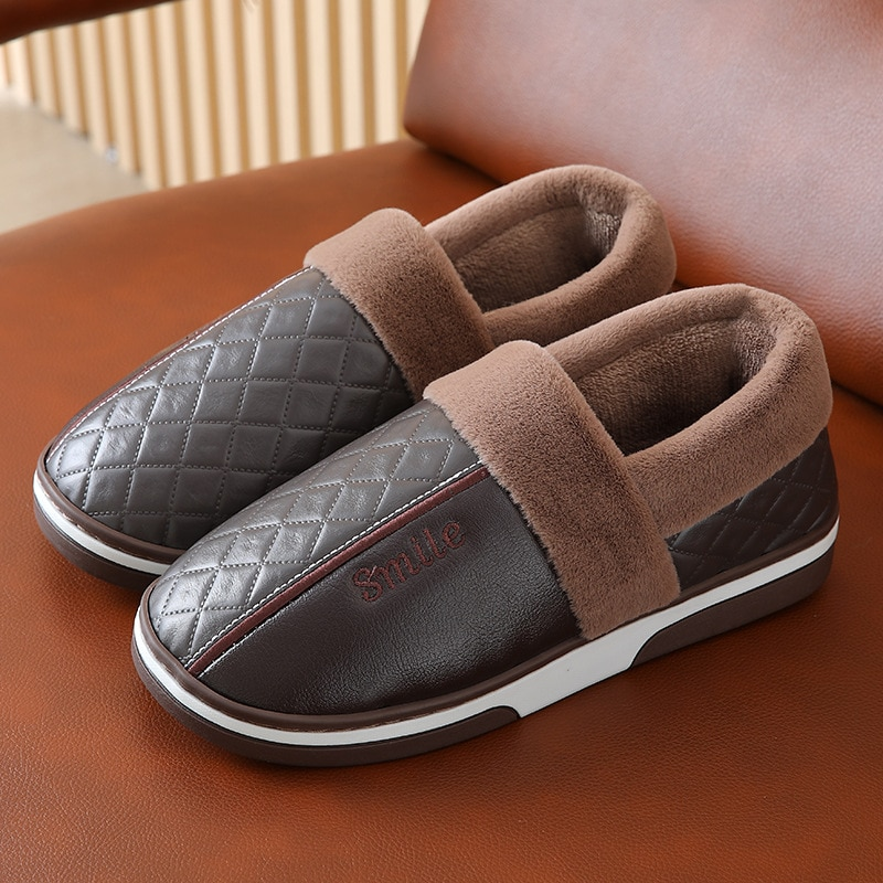 Mens Leather Home slippers for Male Waterproof Warm House slippers Fashion Fur Slippers Couple Platf