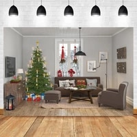 laeacco exquisite and modern indoor christmas tree wooden floor sofa carpet birthday backdrop photographic photo background