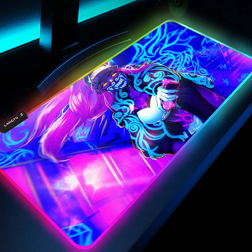 AliExpress - League of Legends Akali Computer Mousepad Rgb Gaming Accessories Mouse Pads Play Mat with Backlight Mouse Pad Xxl Led Gamers