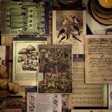 Yoofun 60 feuilles temps livre série matériel rétro plante bloc-notes Collage décoration arrière-plan pas collant bureau école papeterie