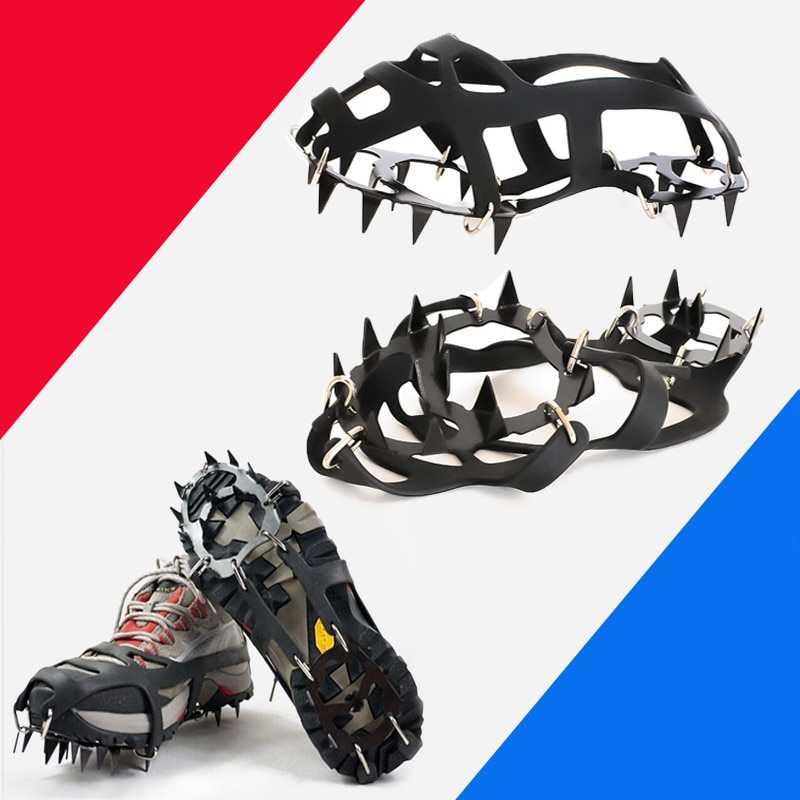 Outdoor Winter Walk 18 Teeth Climbing Crampons for Ice Fishing Snow Shoes Antiskid Shoes Manganese Steel Shoe Covers
