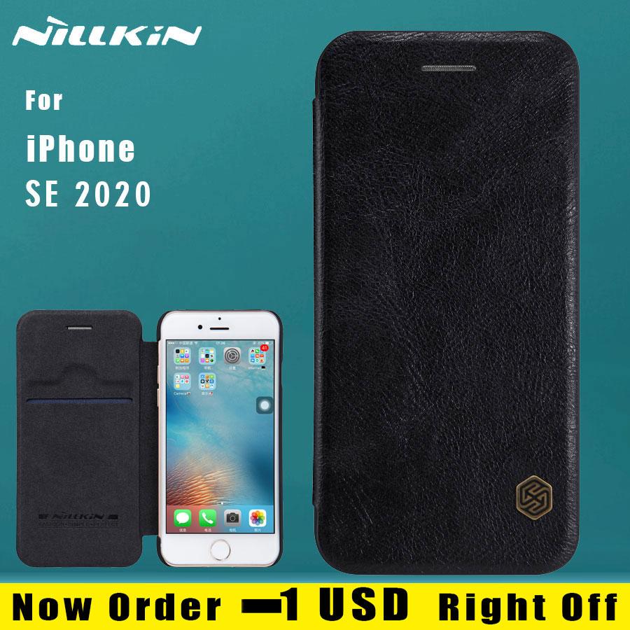 Para o iphone se 2020 caso nillkin flip couro slot para cartão capa traseira