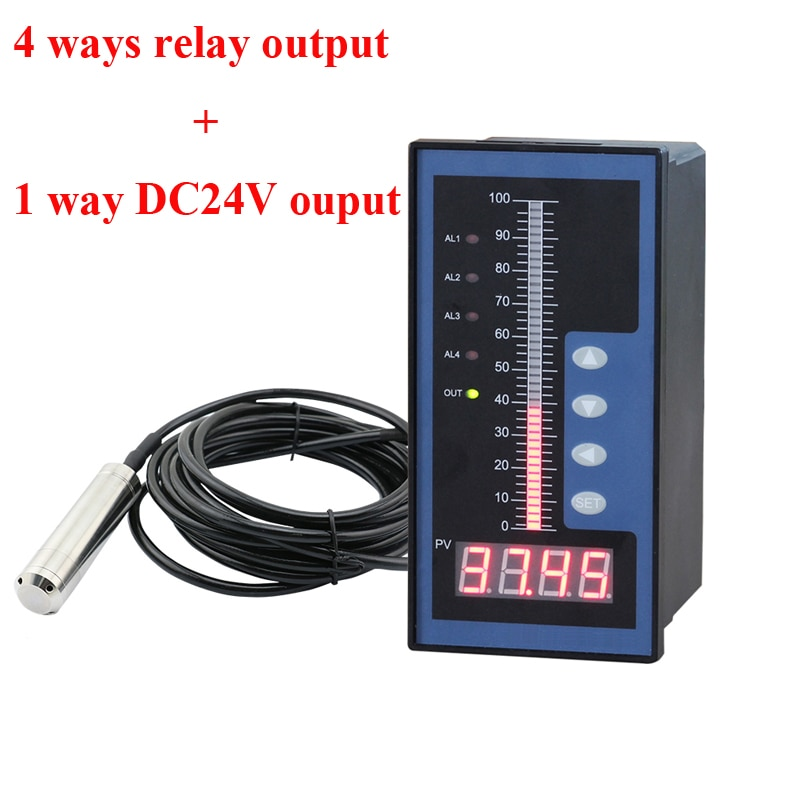 Controlador de nivel de agua con sensor de nivel de 0-10M sensor de profundidad del transmisor líquido controlador de profundidad de agua con 4 relés de salida 24VDC