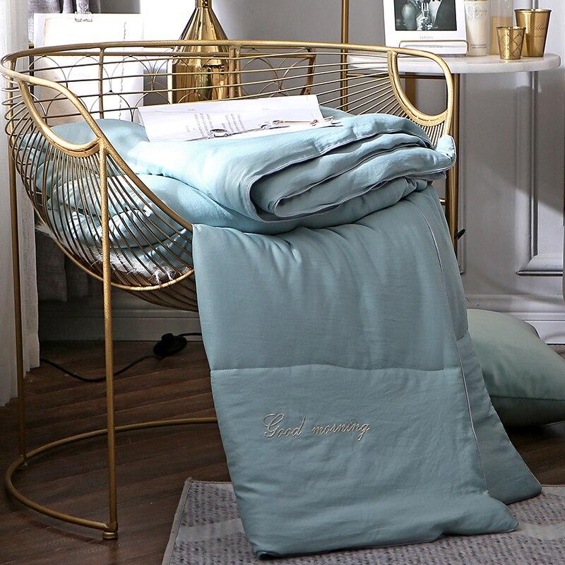 Cf2 gêmeo rainha rei tamanho novo design cor pura estilo consolador pena tecido inverno grosso cobertor de edredão pão forma colcha
