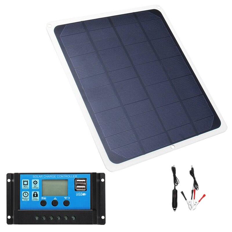 12v 20w usb painel solar com carregador de carro crocodilo clipe 20a usb carregador solar controlador para acampamento ao ar livre