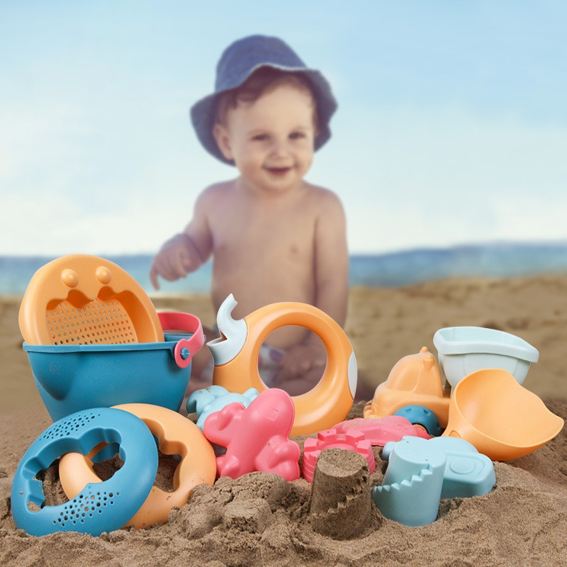kids sand Kids Beach Sand Toys Set, Eco-Friendly Sand Toy, Reusable Sandbox Toys for Kids, with Pail Car Animals and Other Tools Kit