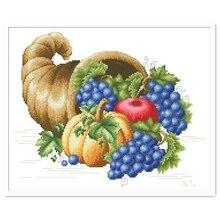 Harvest cross stitch package apple grape fruit 18ct 14ct 11ct white cloth cotton thread embroidery DIY handmade needlework