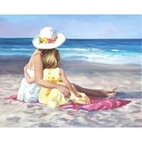 dutey 5d diy diamond painting beach girl picture cross stitch kit full drill embroidery mosaic handmade art gift home decoration