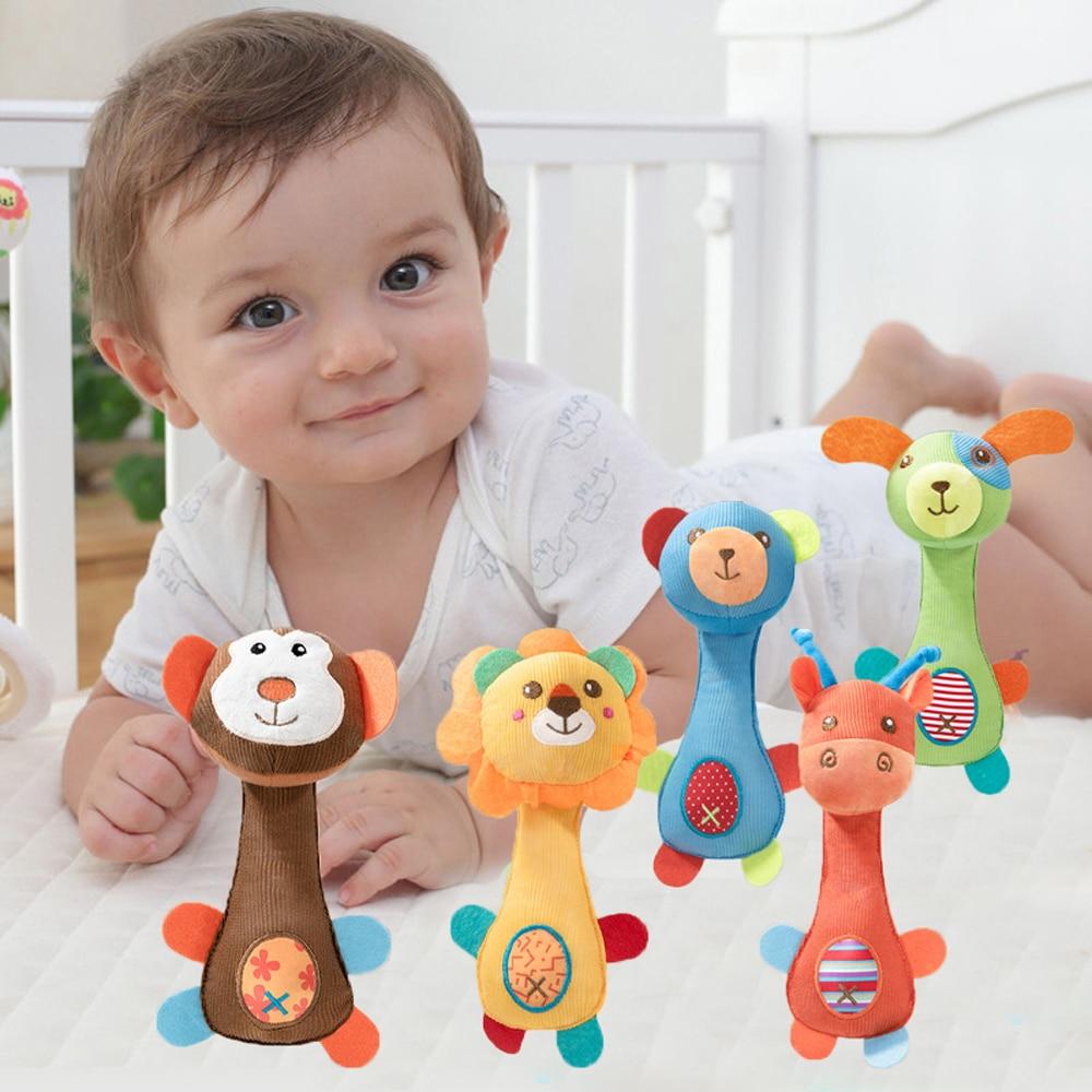 Детские мягкие погремушки-животные, игрушки, шарики, плюшевые детские игрушки для кровати, животные, ручные колокольчики, детские погремушк...
