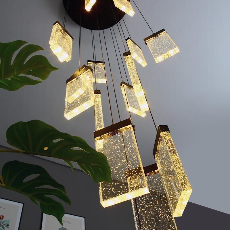 Escalera candelabro de cristal de lujo LED cuadrado burbuja lámpara de cristal desván araña con impresión a doble cara villa hotel lámpara de decoración