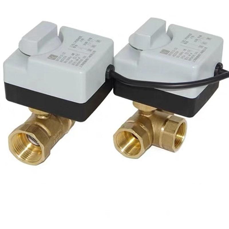 صمام كروي نحاسي بمحرك ، مشغل كهربائي 3 أسلاك ، ثنائي التحكم AC220V 3 اتجاهات/2 طريقة DN15 DN20 DN25 DN32 DN40 مع مفتاح يدوي