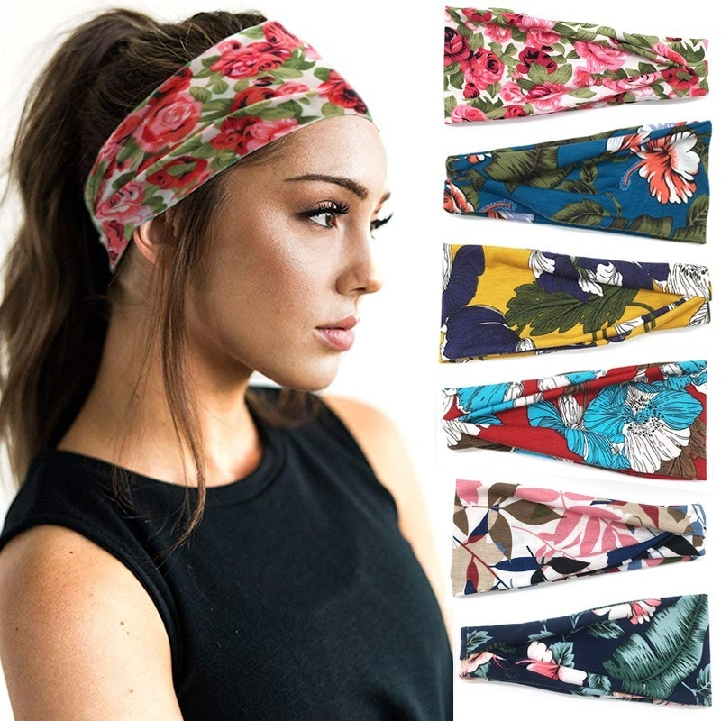 Head Bands for Women Summer 2021 Printed Sports Hair Towel Yoga Sweat-absorbent Ladies Wide-brimmed Hairband Accessories
