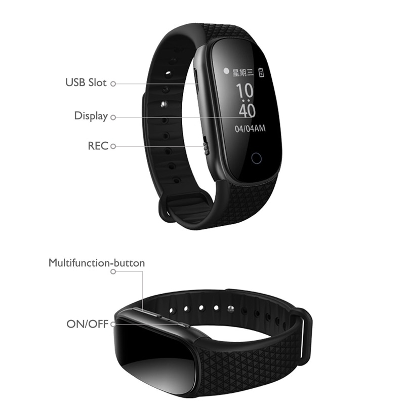 Recorder Pen Activated o Sound Dictaphone Recording Smart Bracelet Watch Professional Portable Digital Voice MP3 Player USB enlarge