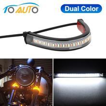 LED Luz de señal de giro para motocicleta DRL blanco ámbar Moto Scooter intermitente anillo tenedor lámpara de tira intermitente centellante 12V 12V
