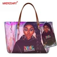 whereisart luxury women 2set shoulder handbag wallet cartoon afro black girls printing totes bags ladies coin case purse bag