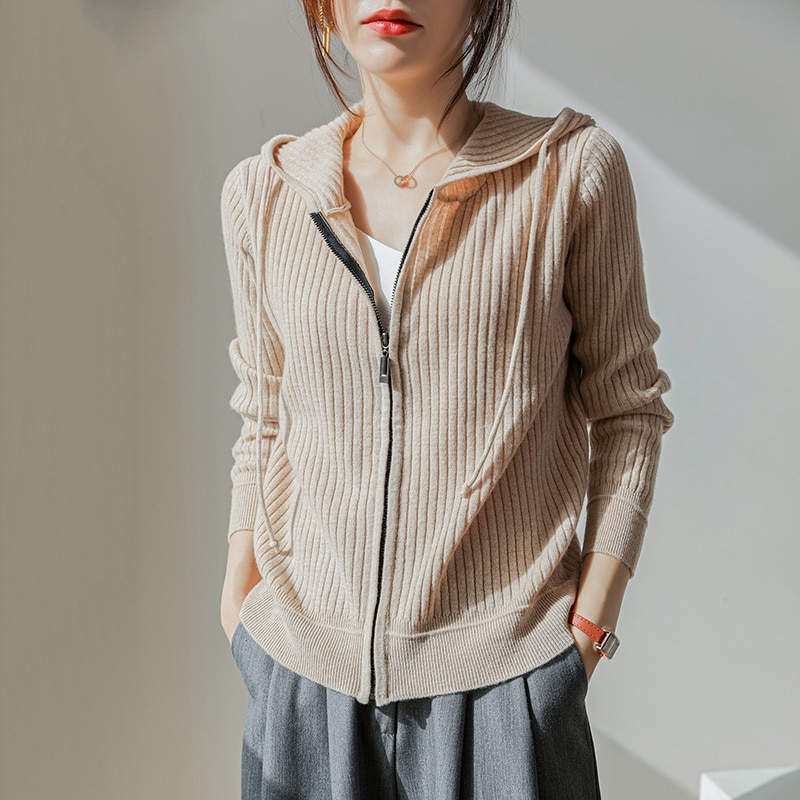 2021 New Arrival Fashion Women Cardigans Zipper and With Hat Jumpers 100% Merino Wool Knitted Sweaters Famale 4Colors Knitwear enlarge