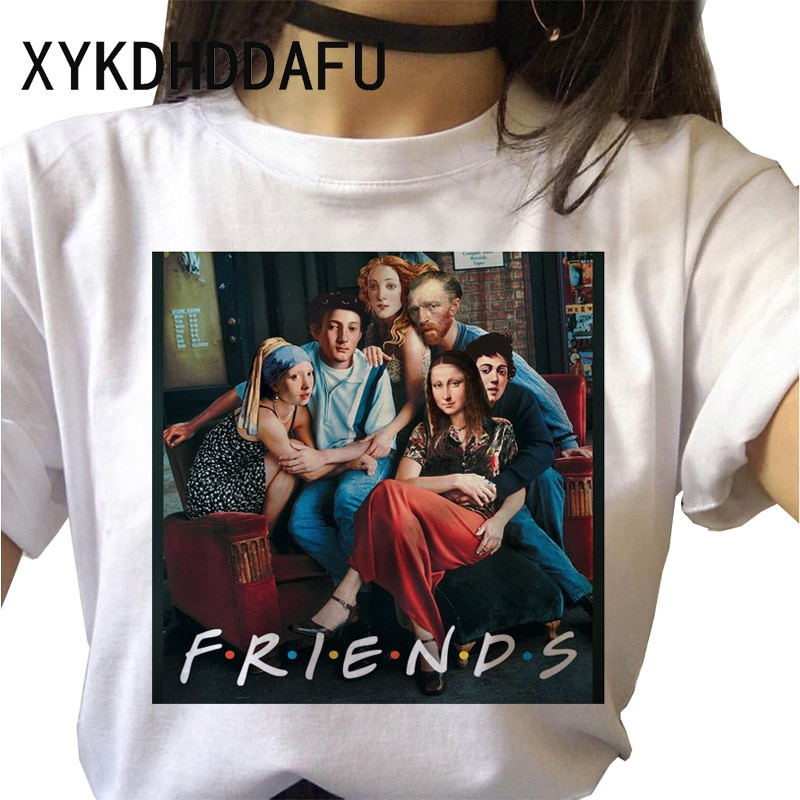 Camiseta de amigos, nueva camiseta para mujer de Hip Hop Harajuku Ulzzang, ropa femenina, camiseta gráfica Kawaii, camiseta de mujer, Top estético Grunge