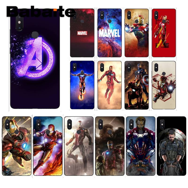 Babaite Marvel Avengers Iron Man Capitan America Copertura Della Cassa Del Telefono Per xiaomi6 MIX2 note3 redmiK20 7 xiaomi8SE redminote4 nota 5