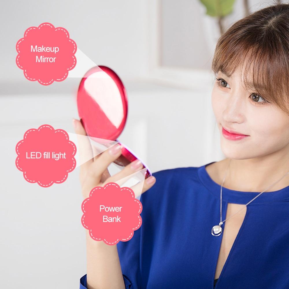 Espejo de maquillaje ligero LED redondo 2 en 1, Mini banco de energía portátil 3000mAh, Dual 2 Powerbank, pantalla de espejo, chicas, puerto USB 5V