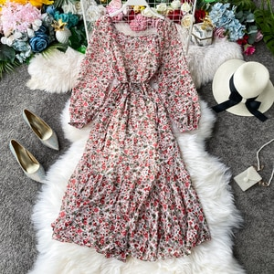 Spring Autumn Vintage Chiffon Floral Print Dress Women Square Collar Puff Sleeve Holiday Dresses High Waist Lace-up Party Dress