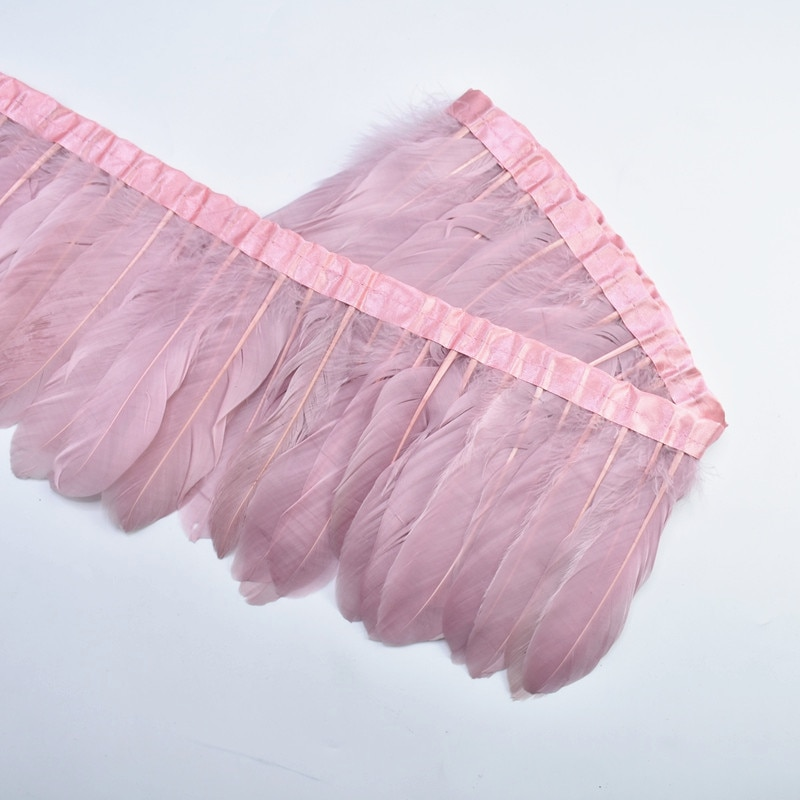 2Meters Leather Pink Goose Feather Trim Goose Feathers for Crafts Ribbons Fringes Wedding Feathers Decoration Plume Decoration 10pcs turkey feathers wing quill feather black tipped imitation 25 30cm eagle feathers for crafts feather decor plume decoration