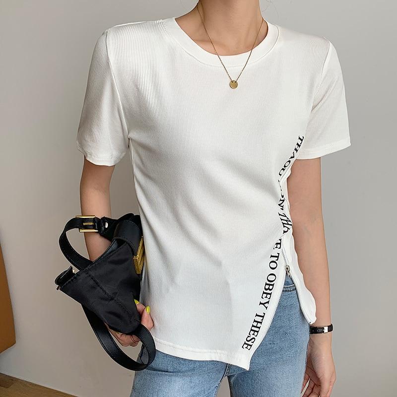 CMAZ Summer T shirt Women England Style Simple Solid O-Neck Cotton Match Basic Harajuku Tshirt  Stan