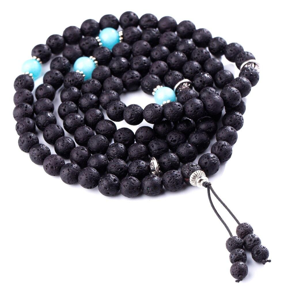 ASHMITA 108 cuentas de rezo budista 7 Chakra meditación de Yoga multicapa Mala curación Lava Rock difusor pulsera collar caja de regalo