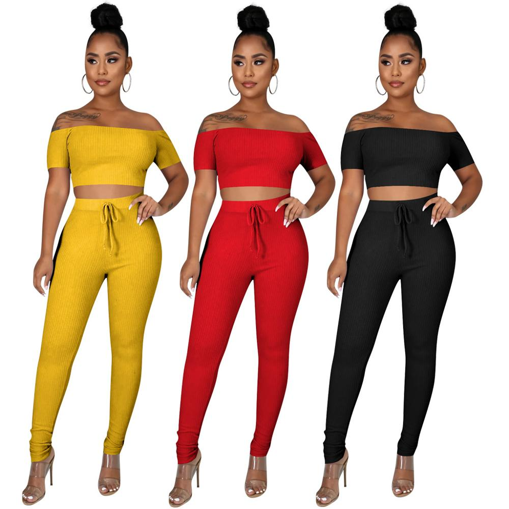 2 Piece Sets Womens Outfits Summer Sexy Two Set Crop Top and Pants Black Matching Pantalon Femme