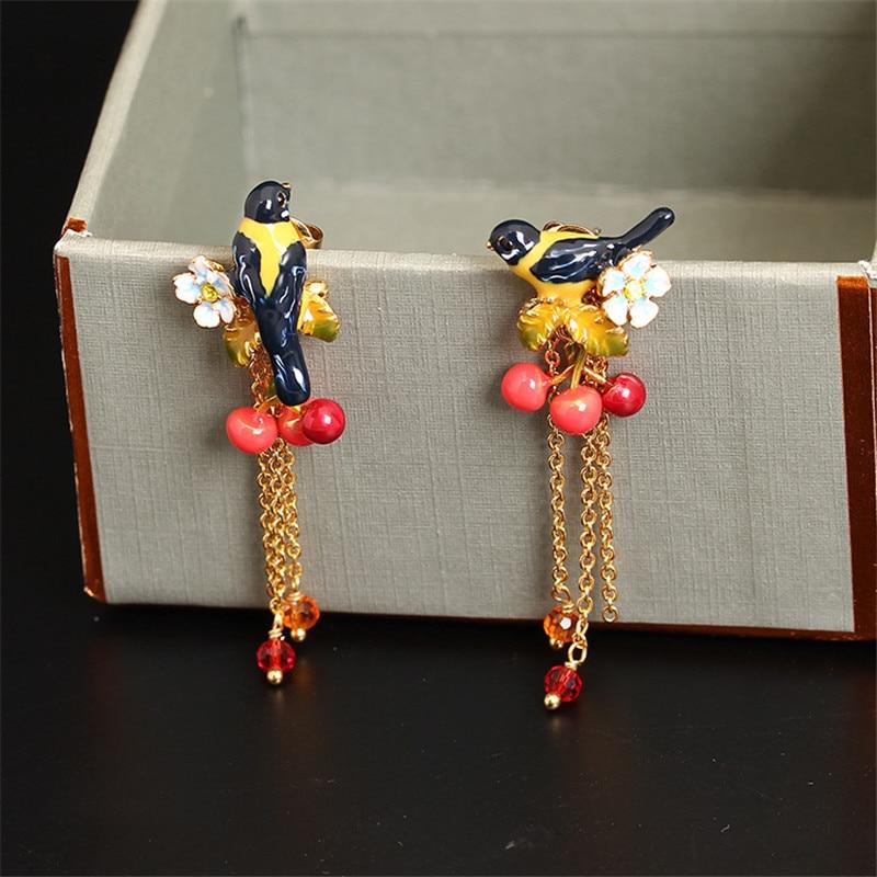 Enameled Oriole Bird Cherry Stud Earrings for Women Girls Long Tassel Drop Earrings Boho Fashion Jewelry Piercing Oreja