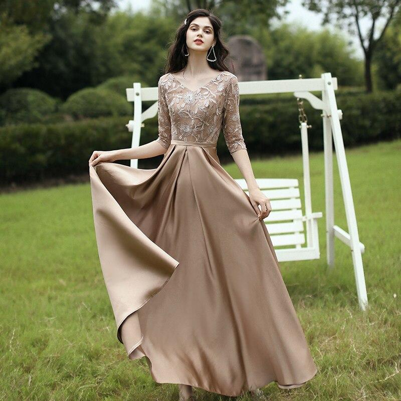 2020 New Fashion Evening Dress Half Sleeve V-neck Appliques Prom Dress a Line Floor Length Formal Dr